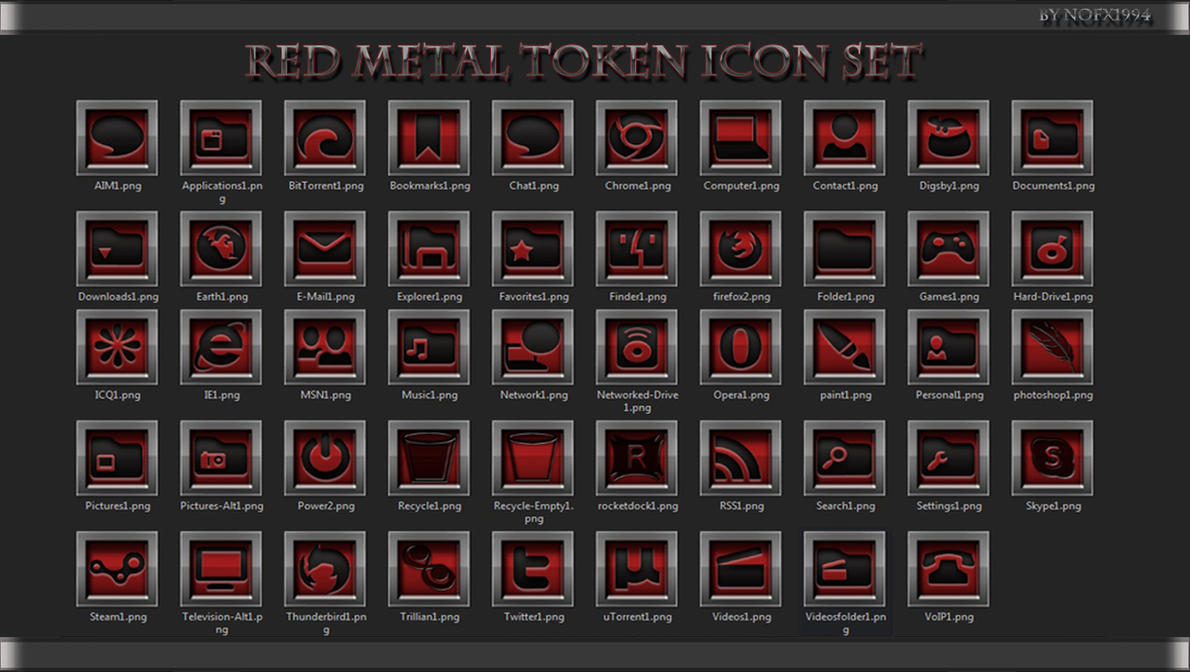 Red Metal Token Icon Set by nofx1994