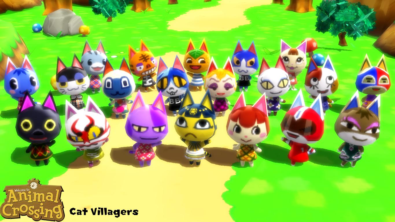 cute animal crossing villagers cat