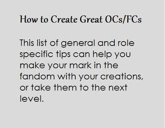 Tips for Creating Great OCs /FCs by TM1Forever