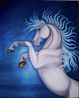 Wild White Horse, higher resolution by reedymanedkelpie