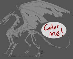 Skin and Bones Dragon Lineart by catarazzo