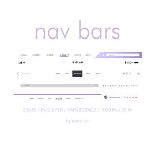 NAVIGATION BARS PSD AND PNG BY PORCELAIN