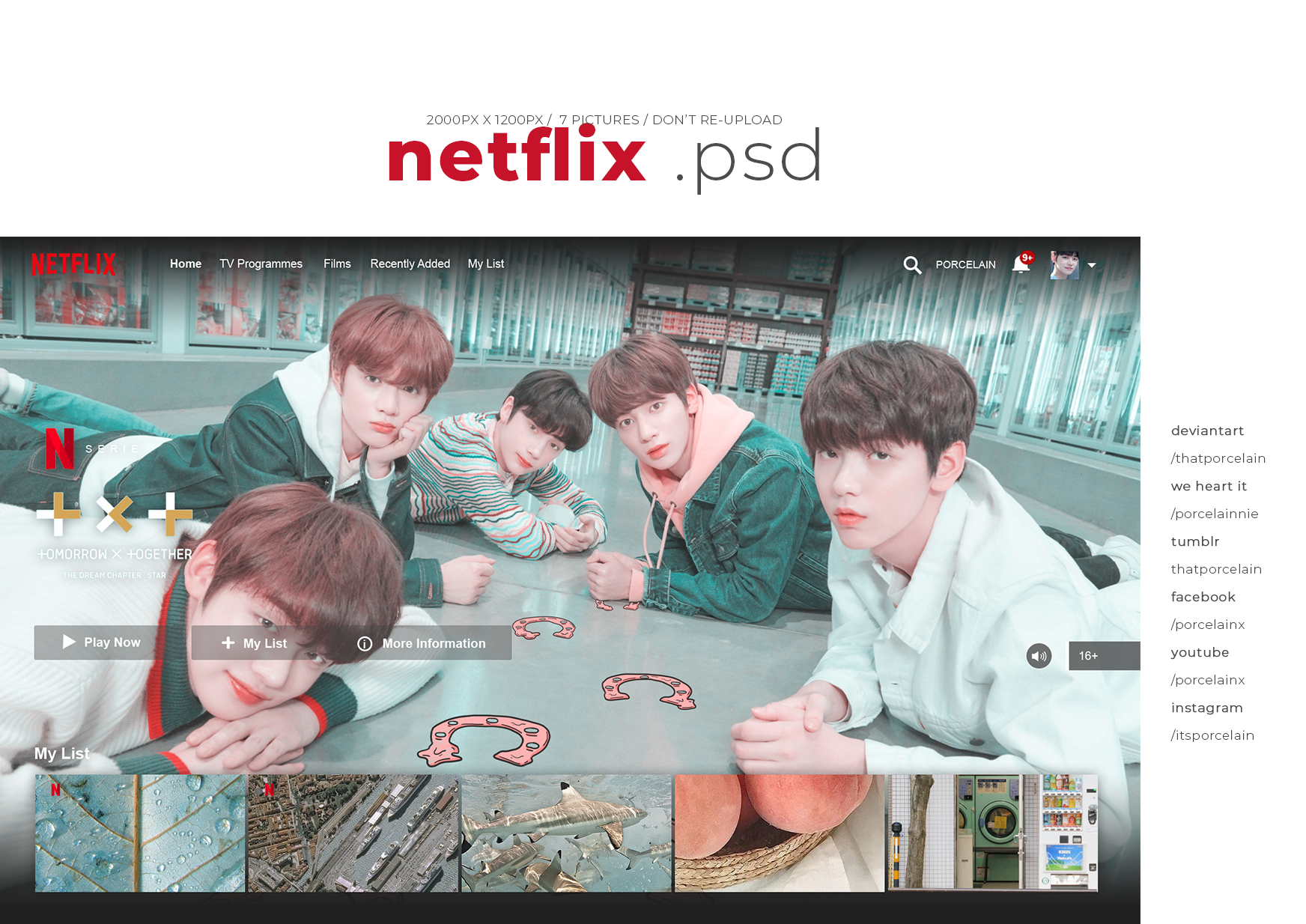 NETFLIX HOMEPAGE TEMPLATE PSD BY PORCELAIN
