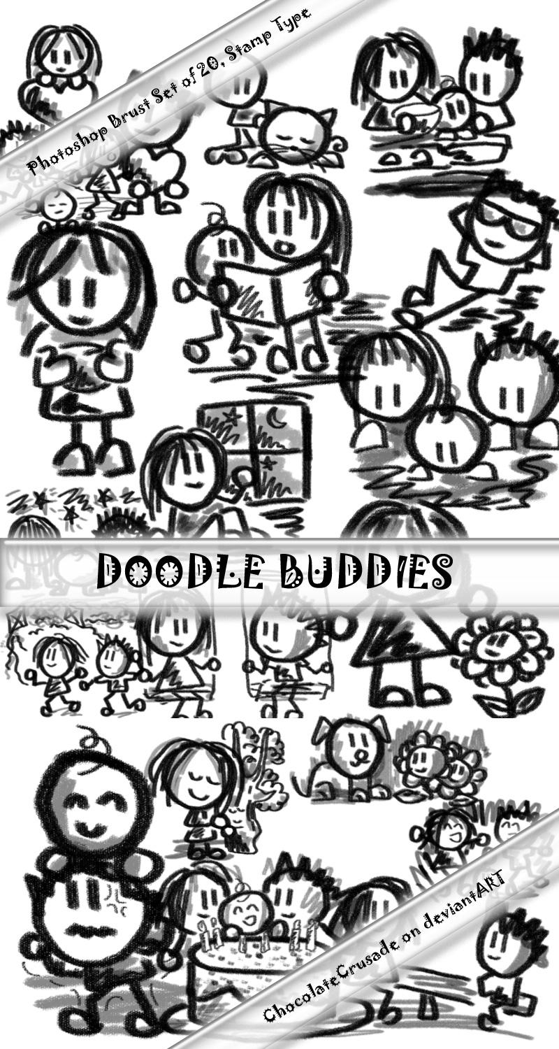 Doodle Buddies--20 PS brushes by Venry