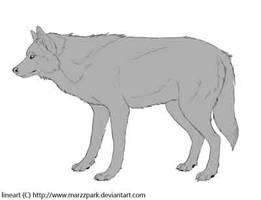 Free lineart wolf - psd by Marzzunny