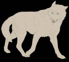 Free lineart wolf - walking by Marzzunny