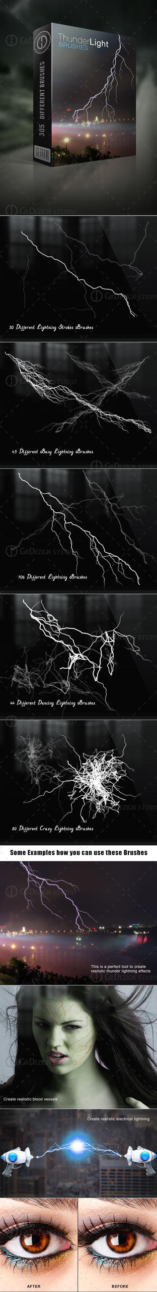 Thunder Lightning Brushes by GrDezign