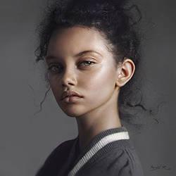 Little curls process, portrait of Marina Nery