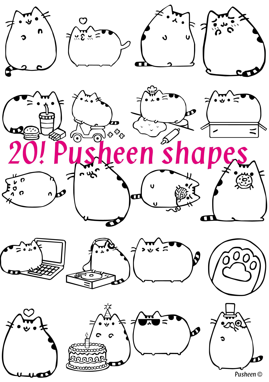 Pusheen shapes set 1 by KatieCarlinHudson