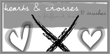 31 Hearts and Crosses Brushes