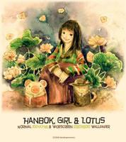 Hanbok, Girl + Lotus Wallpaper