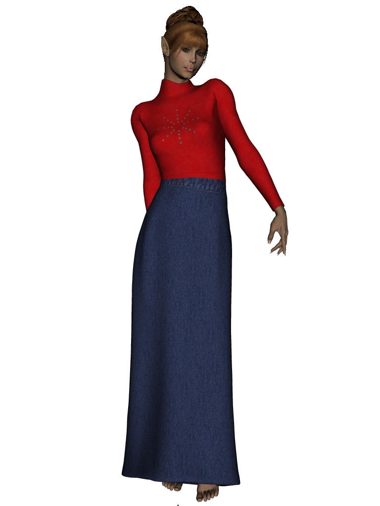 Red Top+Denim Skirt for MFD Z by makibird