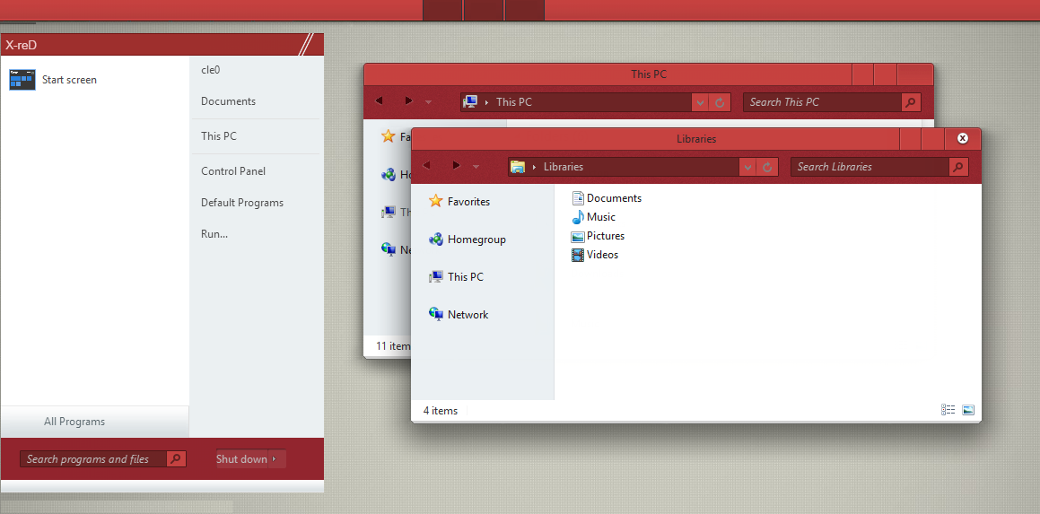 X-reD Theme for win 8/8.1