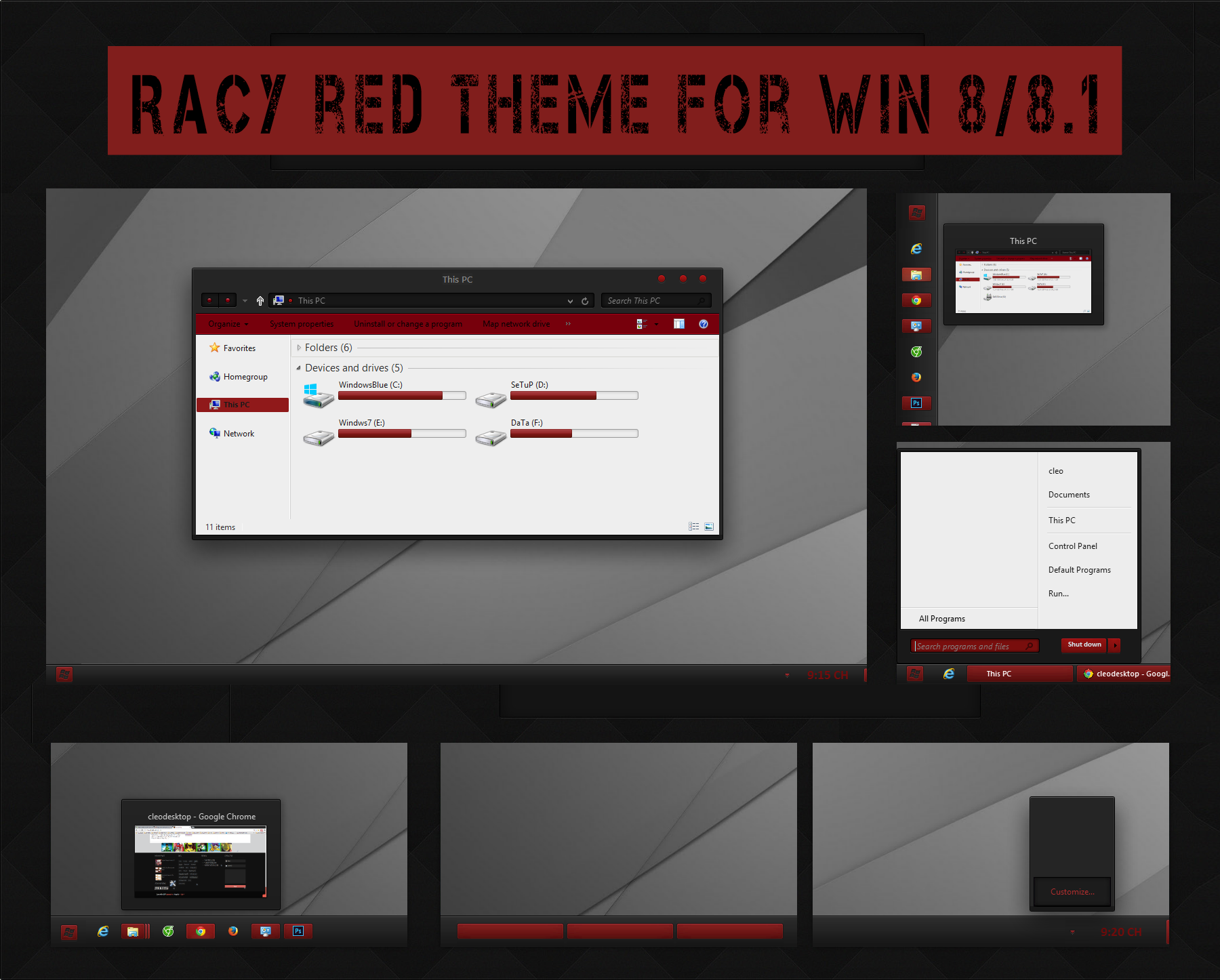 Racy Red Theme for Win 8 /8.1 by cu88