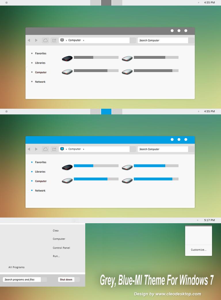 Grey Blue-Ml theme for Windows 7 by cu88