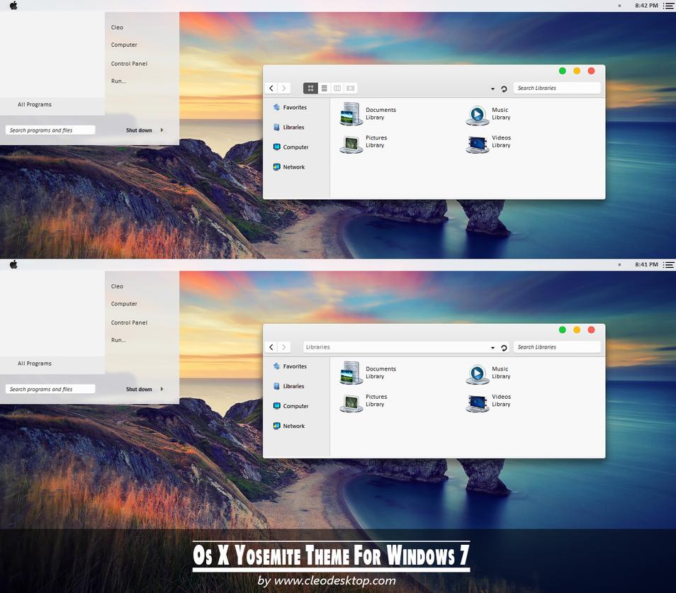 Os X Yosemite theme for Windows 7 by cu88
