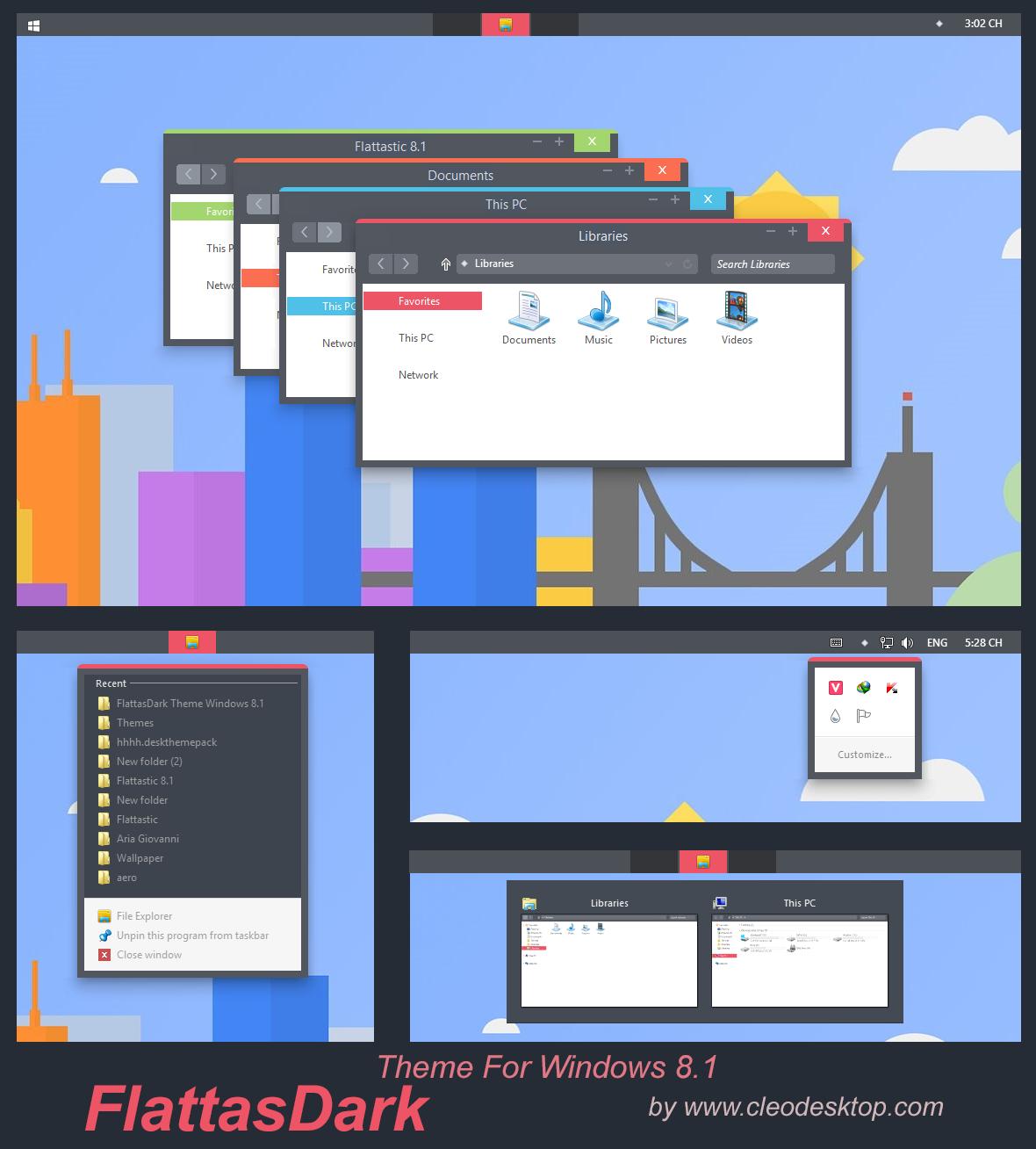 FlattasDark Theme Windows 8.1 by Cleodesktop