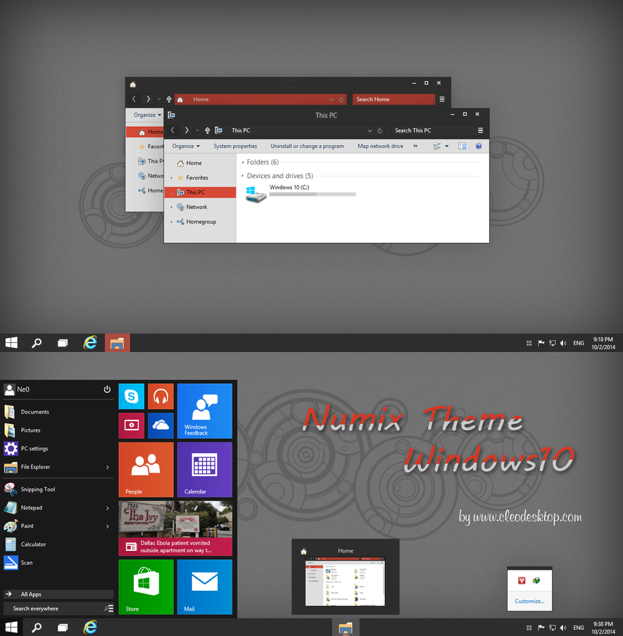 Numix Theme Windows 10 Technical Preview by Cleodesktop