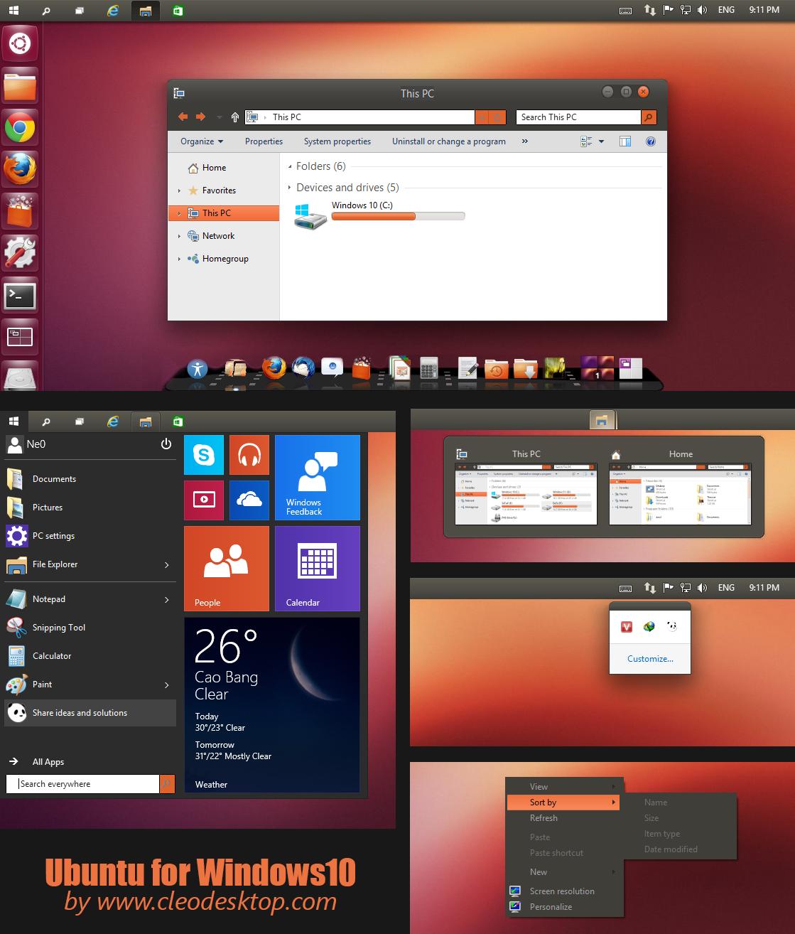 Ubuntu Theme Windows 10 Technical Preview By Cleodesktop