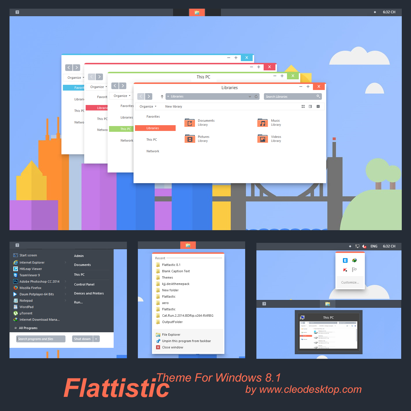 Flattastic theme windows 8 1 updated by cleodesktop on for Window material