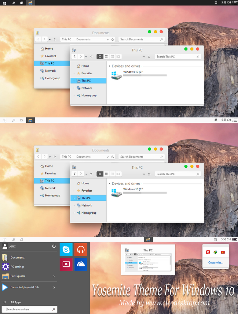 os x yosemite tema windows 10