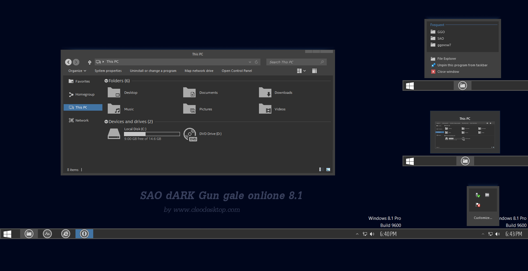 SAO dARK Theme Windows 8 1 by Cleodesktop on DeviantArt