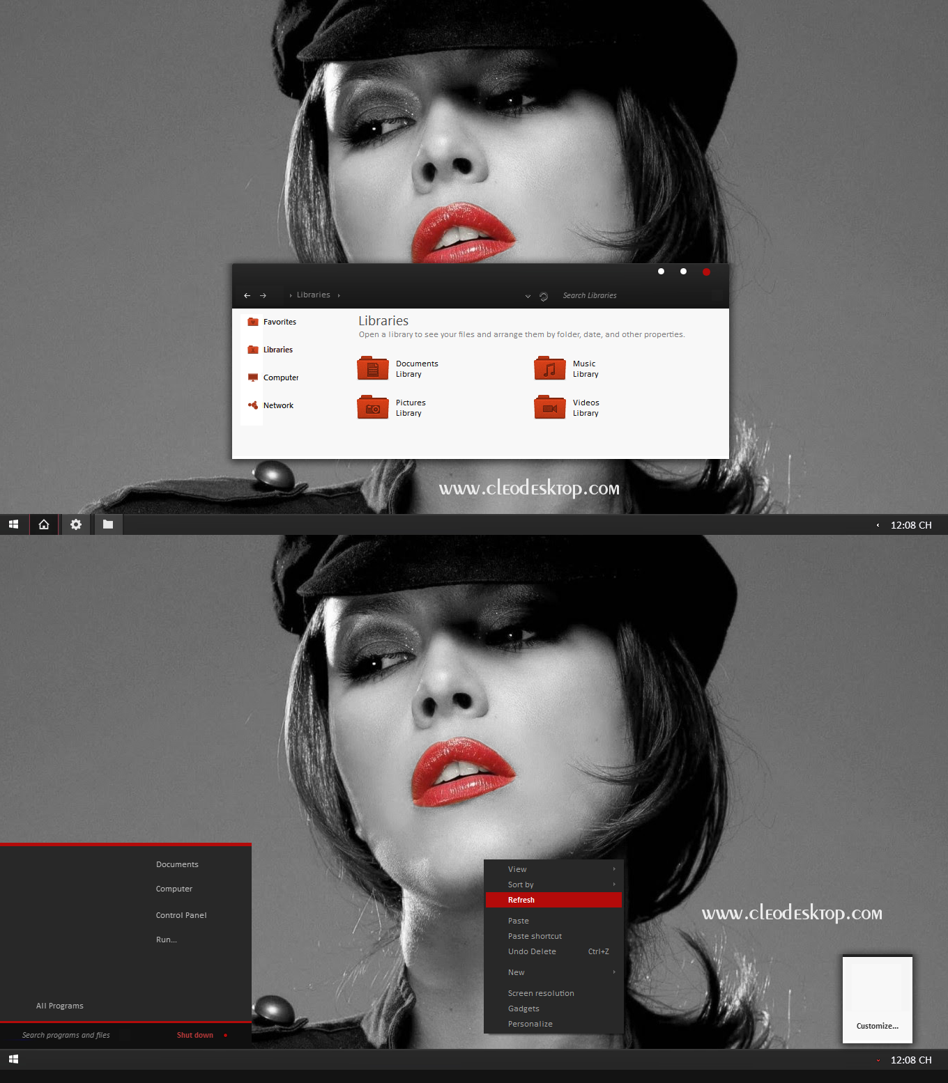 Black Red X Theme For Windows 7 By Cleodesktop