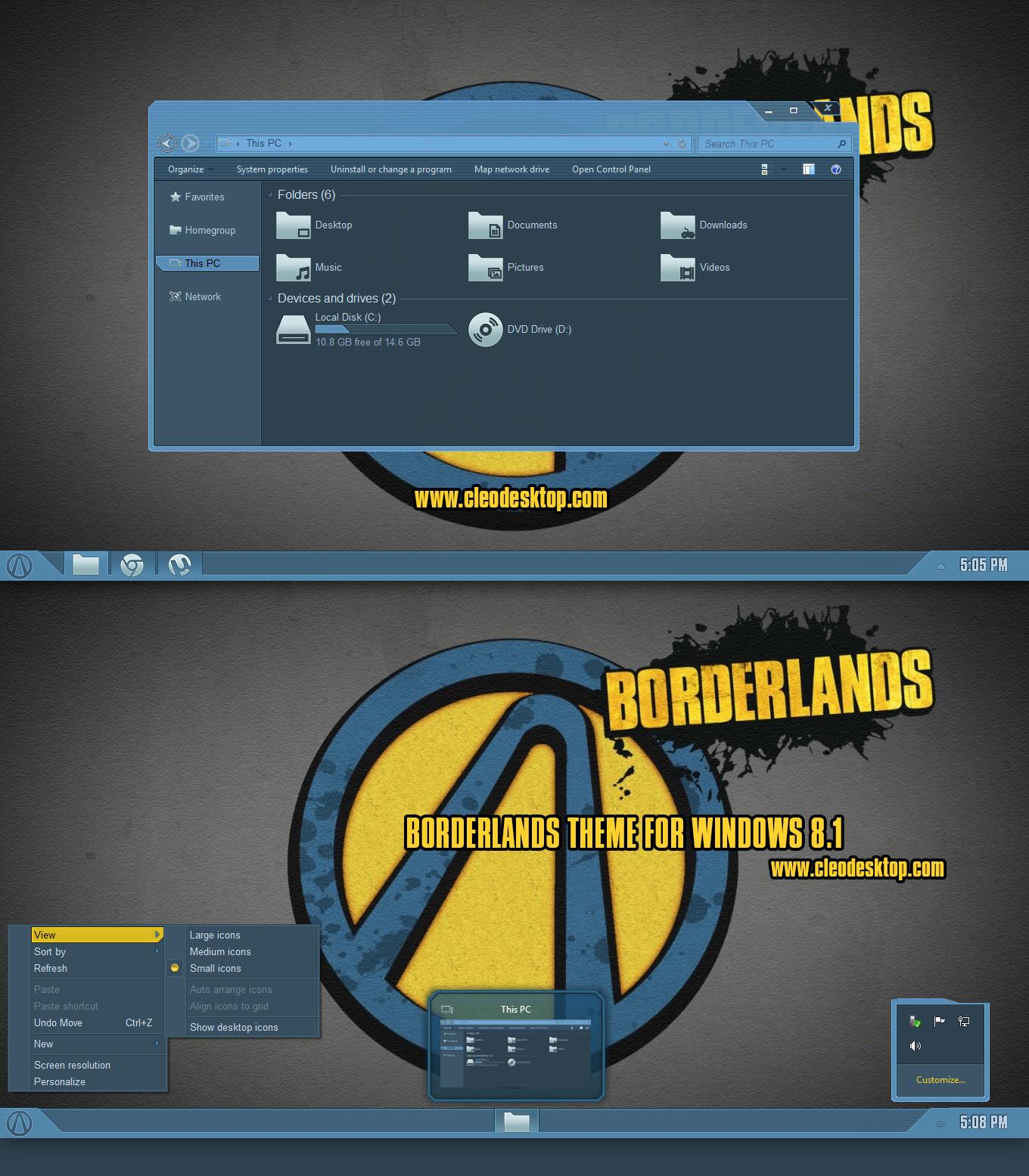 Borderlands Theme For Windows 8.1