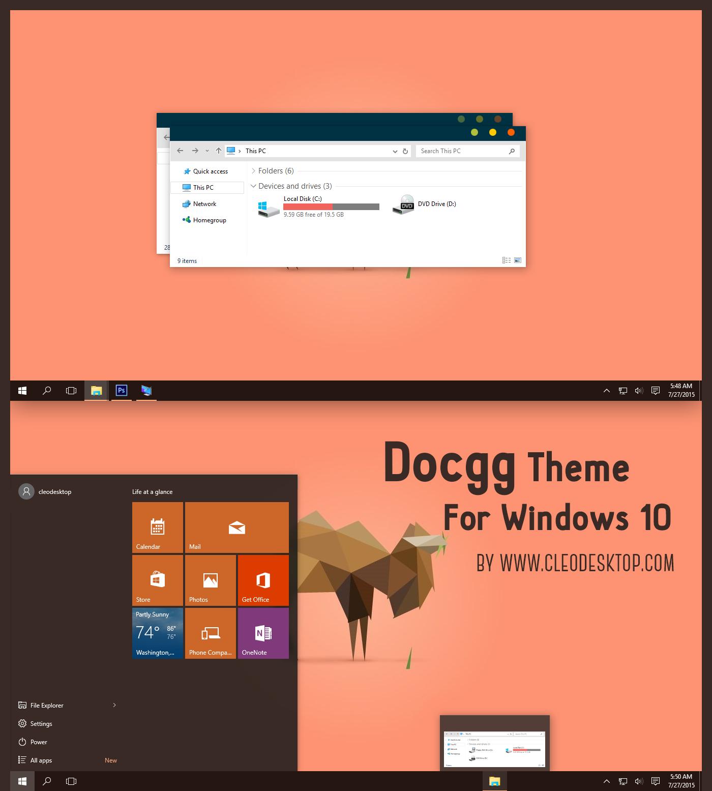 Windows Xp Theme File Software: Docgg Theme Flat Cho Windows10 RTM Build 10240