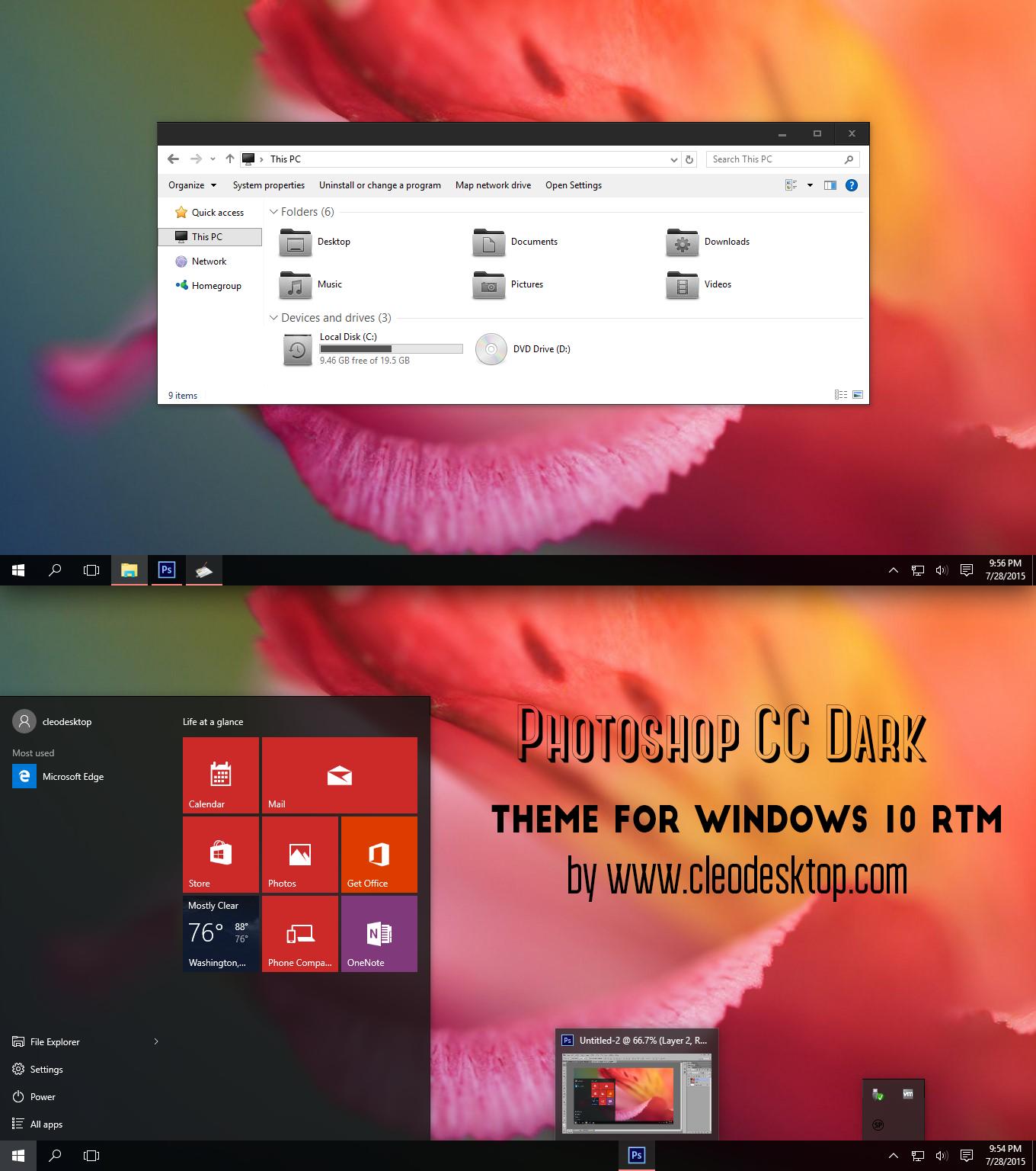 Photoshop CC Dark Theme Windows 10 RTM