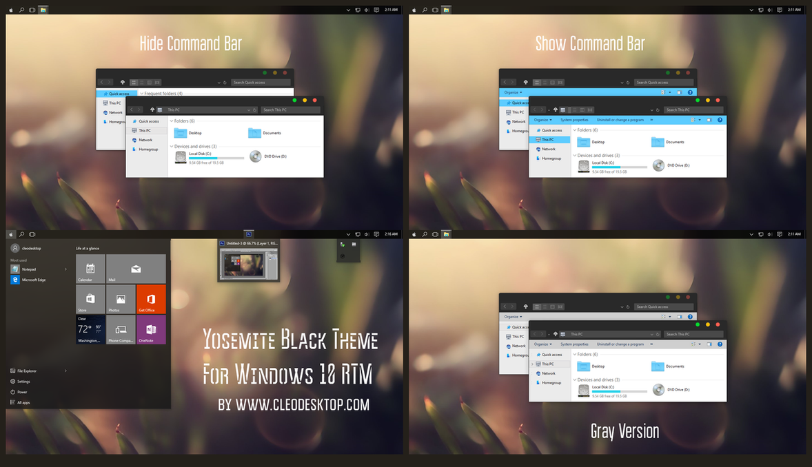 Yosemite Black Full Version Theme Windows 10 RTM by Cleodesktop