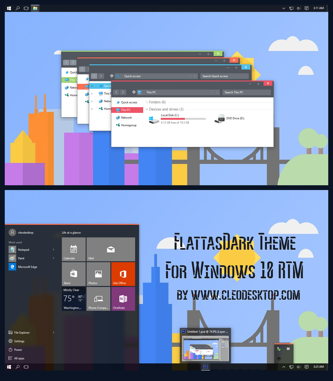FlattasDark Theme For Windows 10 RTM