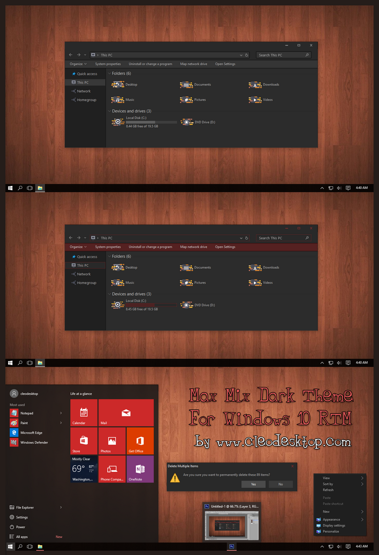 Max Mix Dark Theme For Windows 10 RTM by Cleodesktop