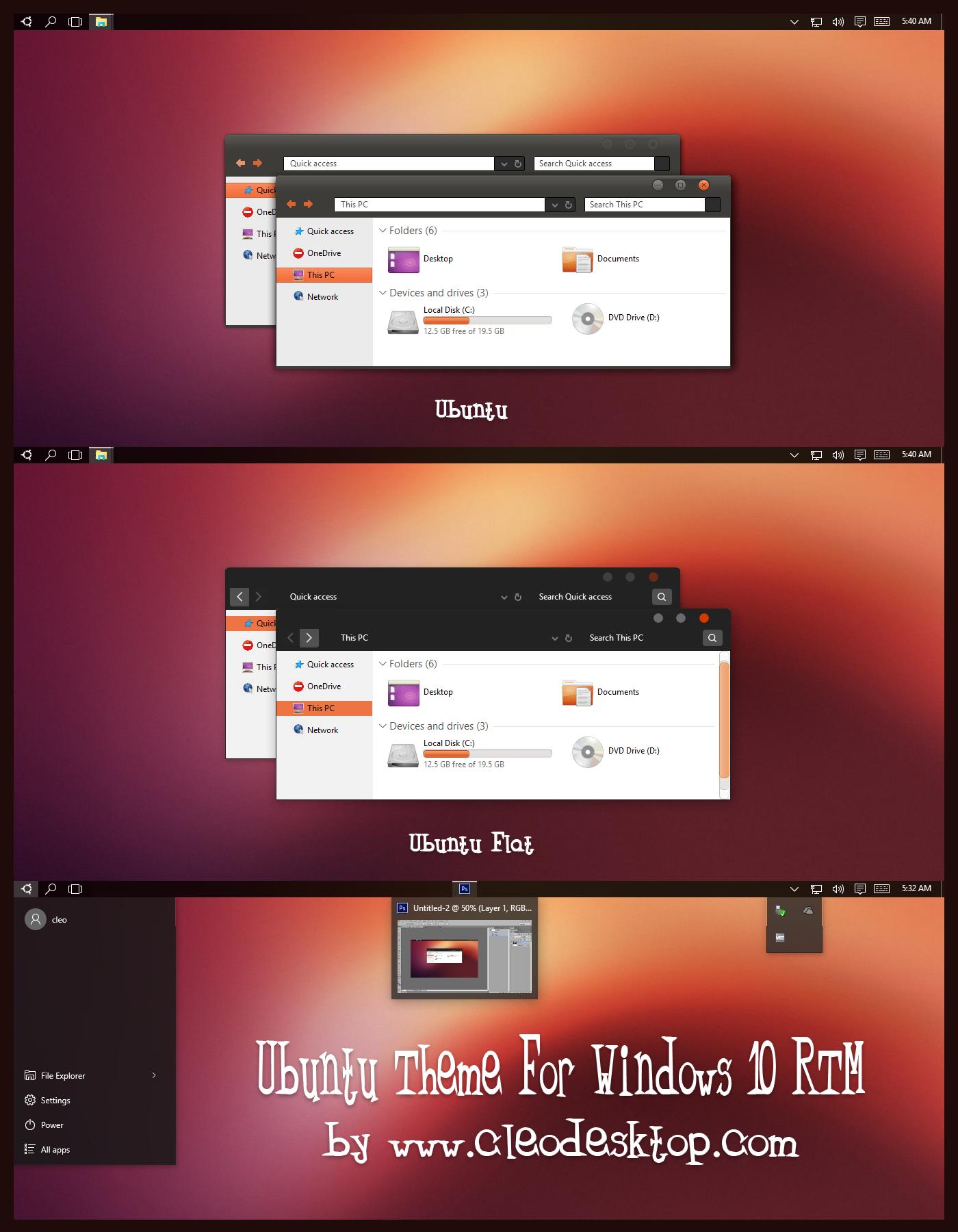 Ubuntu Theme For Windows 10 RTM