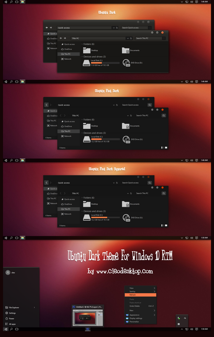 Ubuntu Dark Theme For Windows 10 RTM by Cleodesktop
