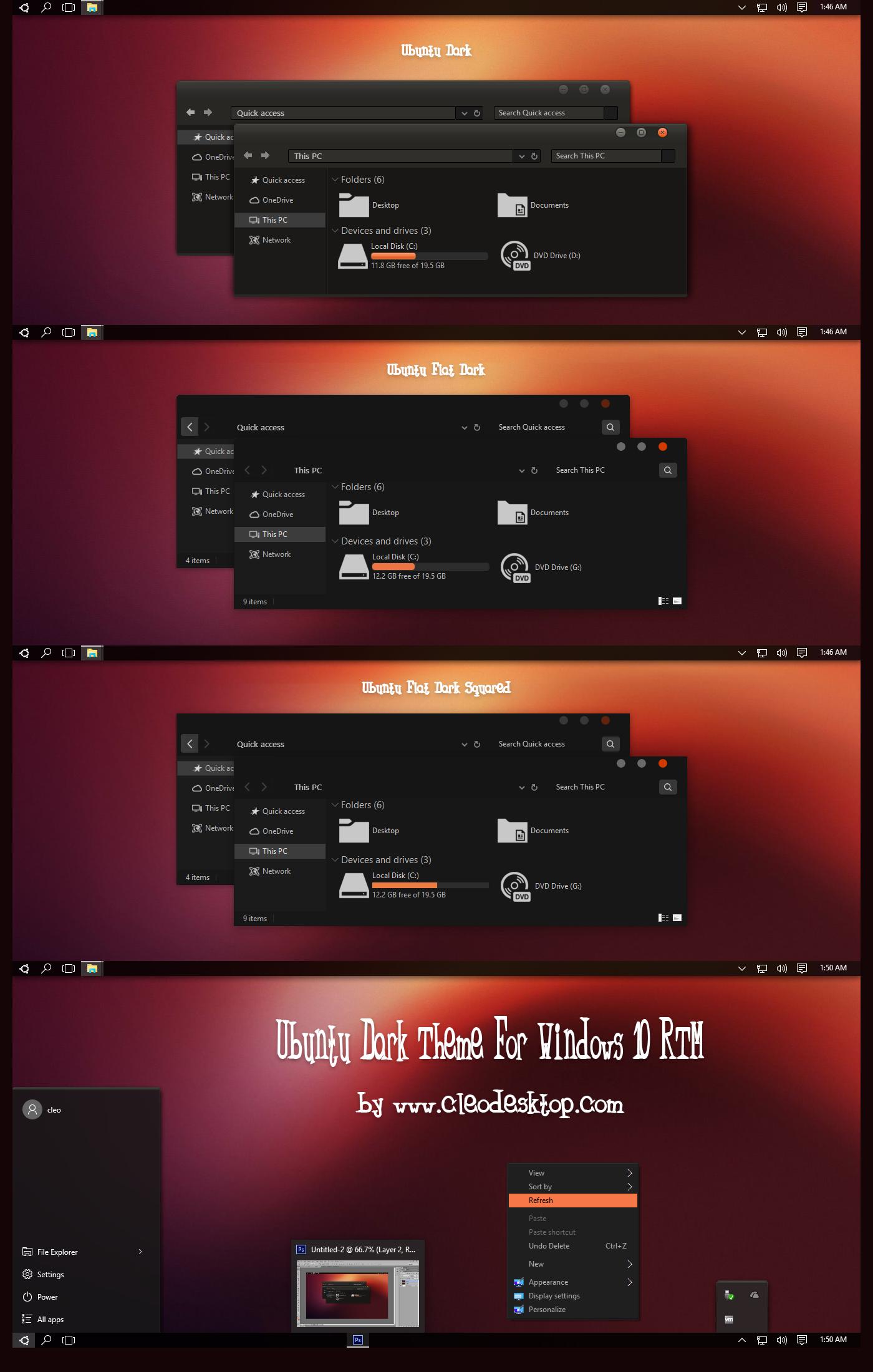 Ubuntu Dark Theme For Windows 10 RTM by cu88