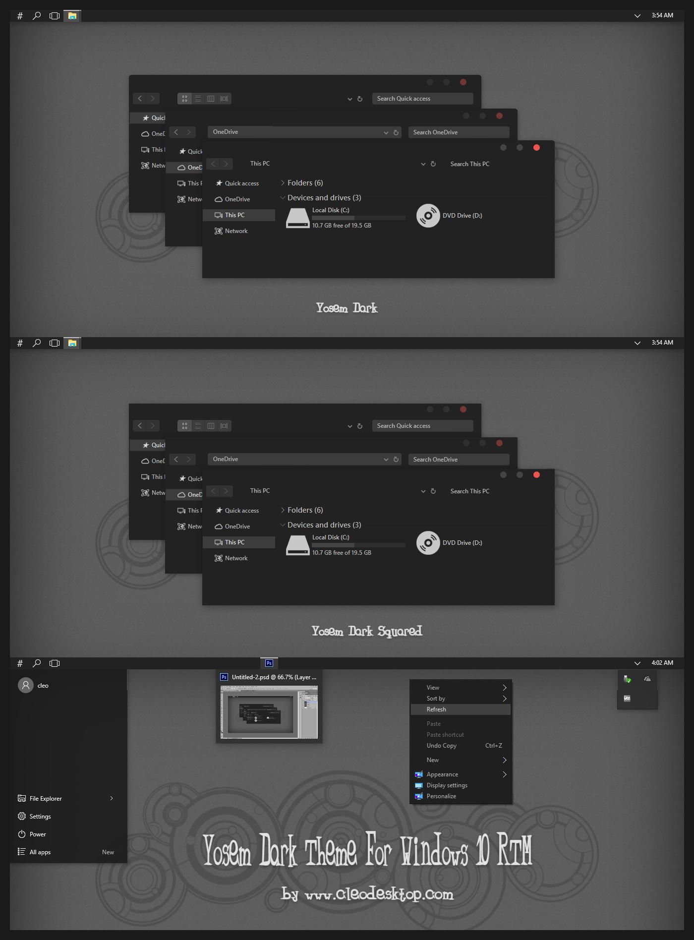 Yosem Dark Theme For Windows 10 RTM