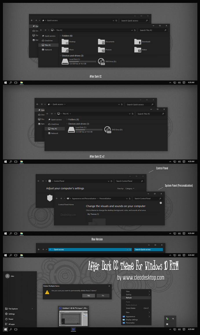 After Dark CC Theme Windows 10 RTM ( v2 Update) by Cleodesktop