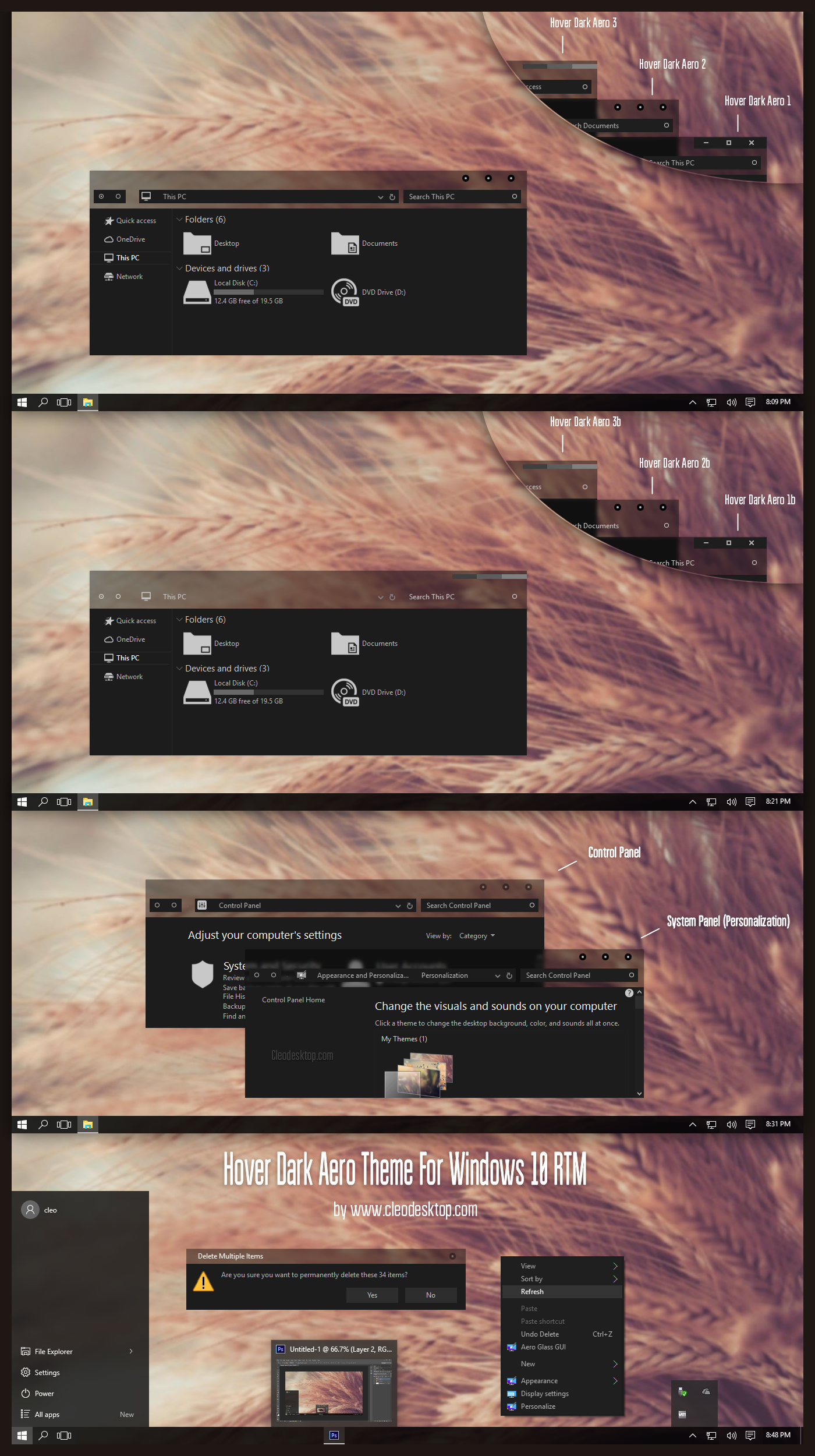 Hover Dark Aero Theme For Windows10 RTM by Cleodesktop