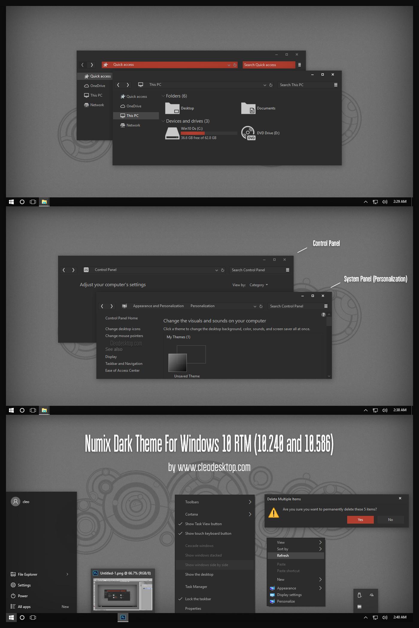 Numix Dark Theme For Windows10 November Update by Cleodesktop