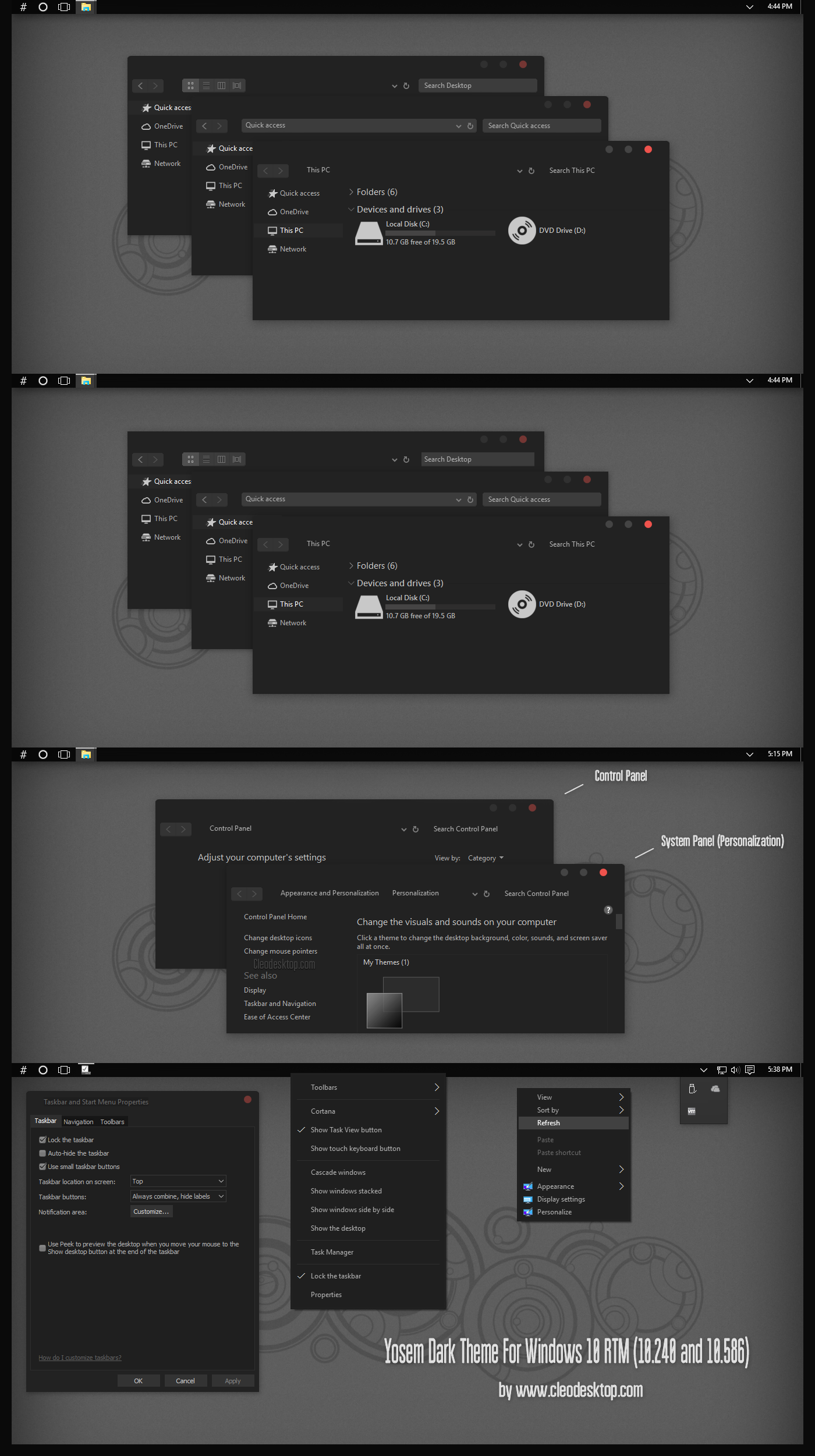 Yosem Dark Theme For Windows10 November Update by Cleodesktop