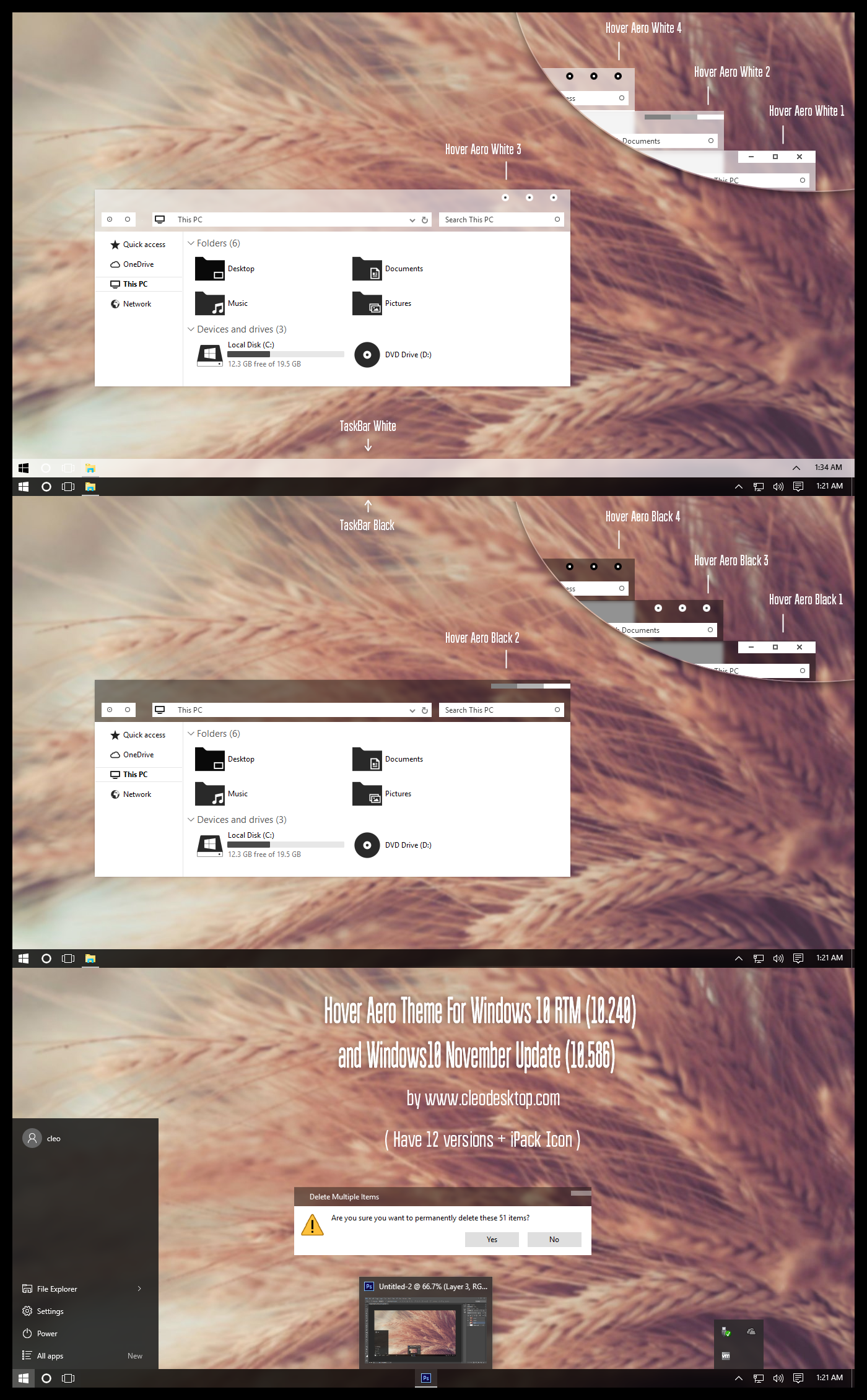 Hover Aero Theme Windows 10 RTM (November Update) by Cleodesktop