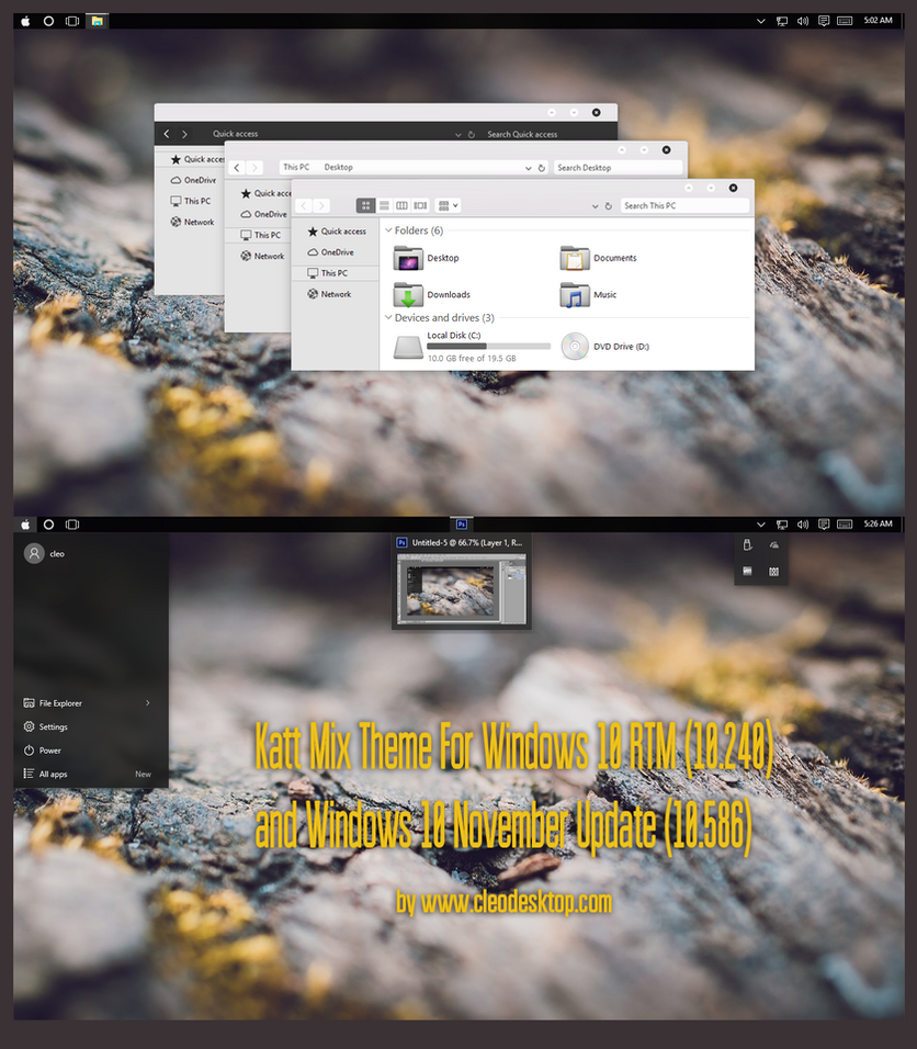 Katt Mix Theme  For Windows 10 November Update by Cleodesktop