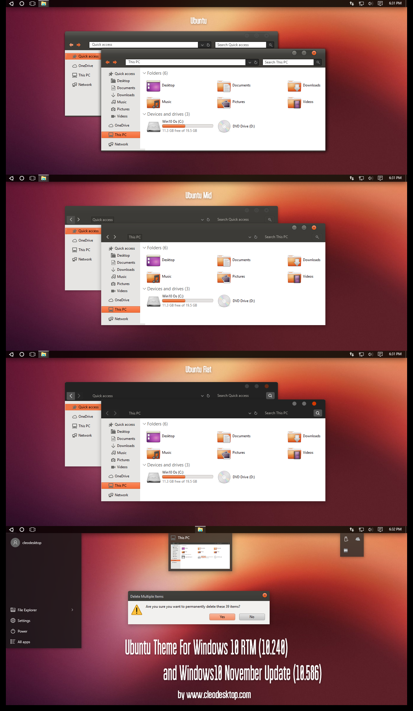 ubuntu theme for windows 10 november update by cleodesktop