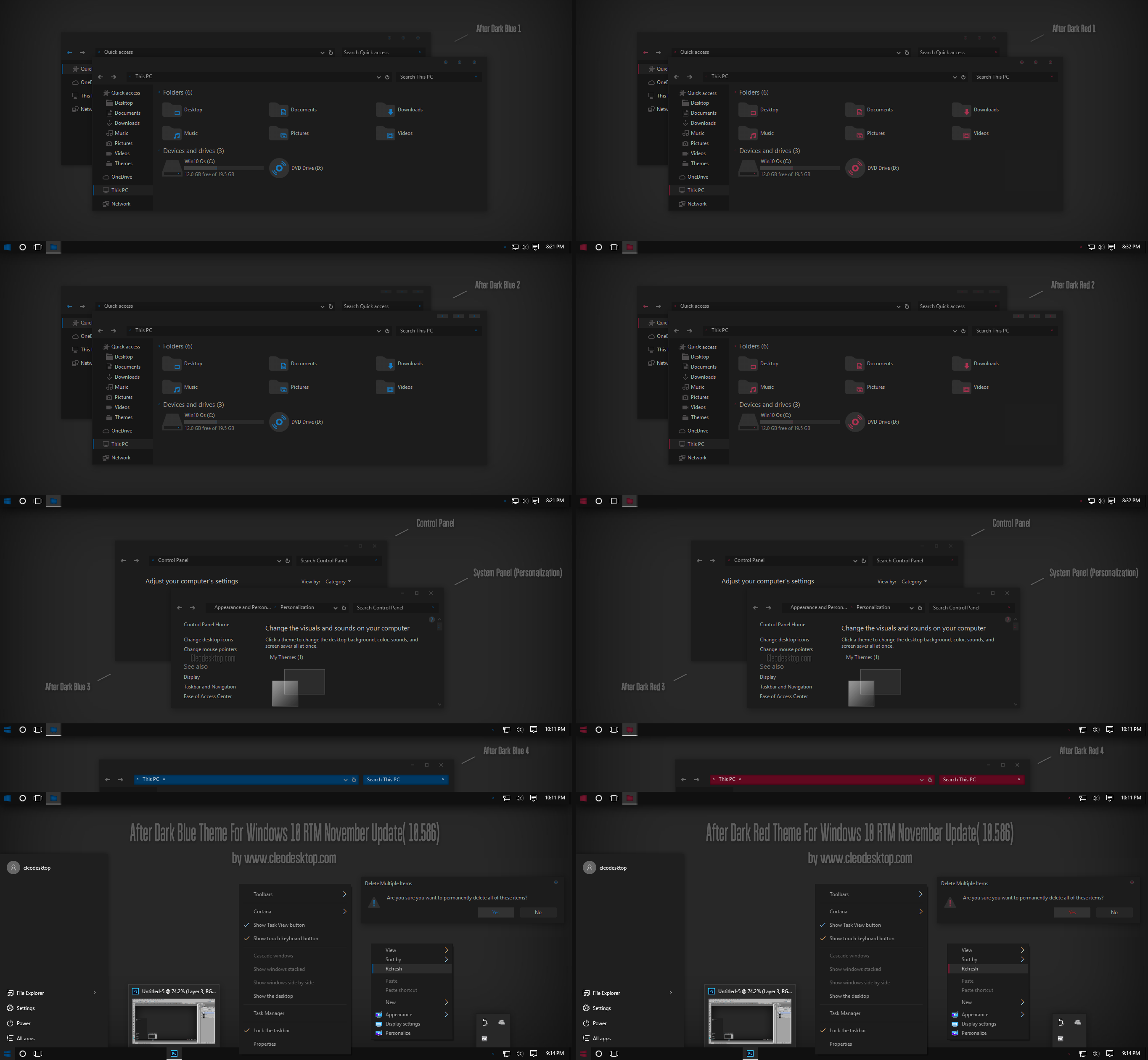 After Dark Blue and Red Theme For Windows 10