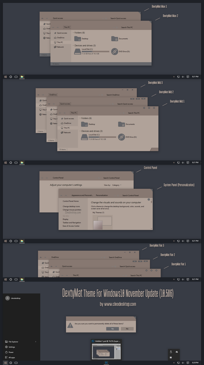 DextyMat For Theme Windows 10  November Update by Cleodesktop