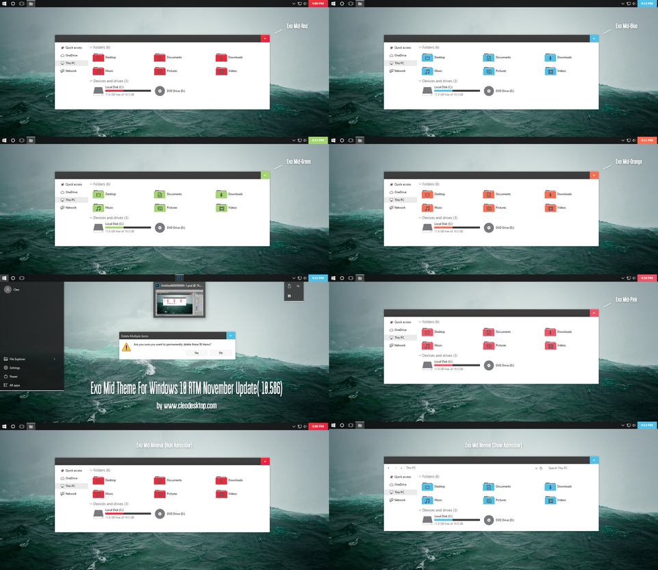 Exo Mid Theme For Windows 10 November Update by Cleodesktop