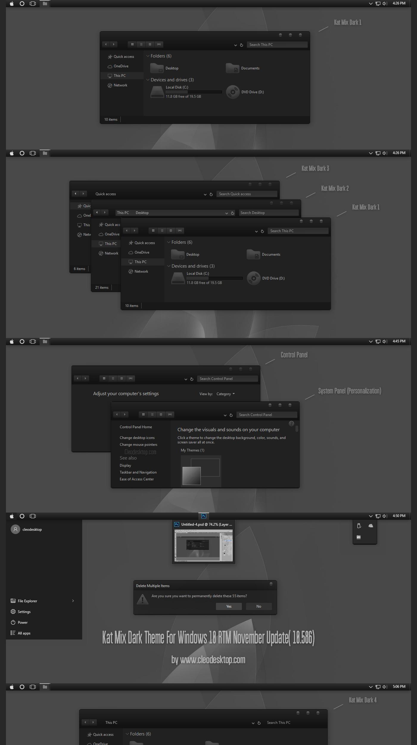 Kat Mix Dark Theme For Windows 10  November Update by Cleodesktop
