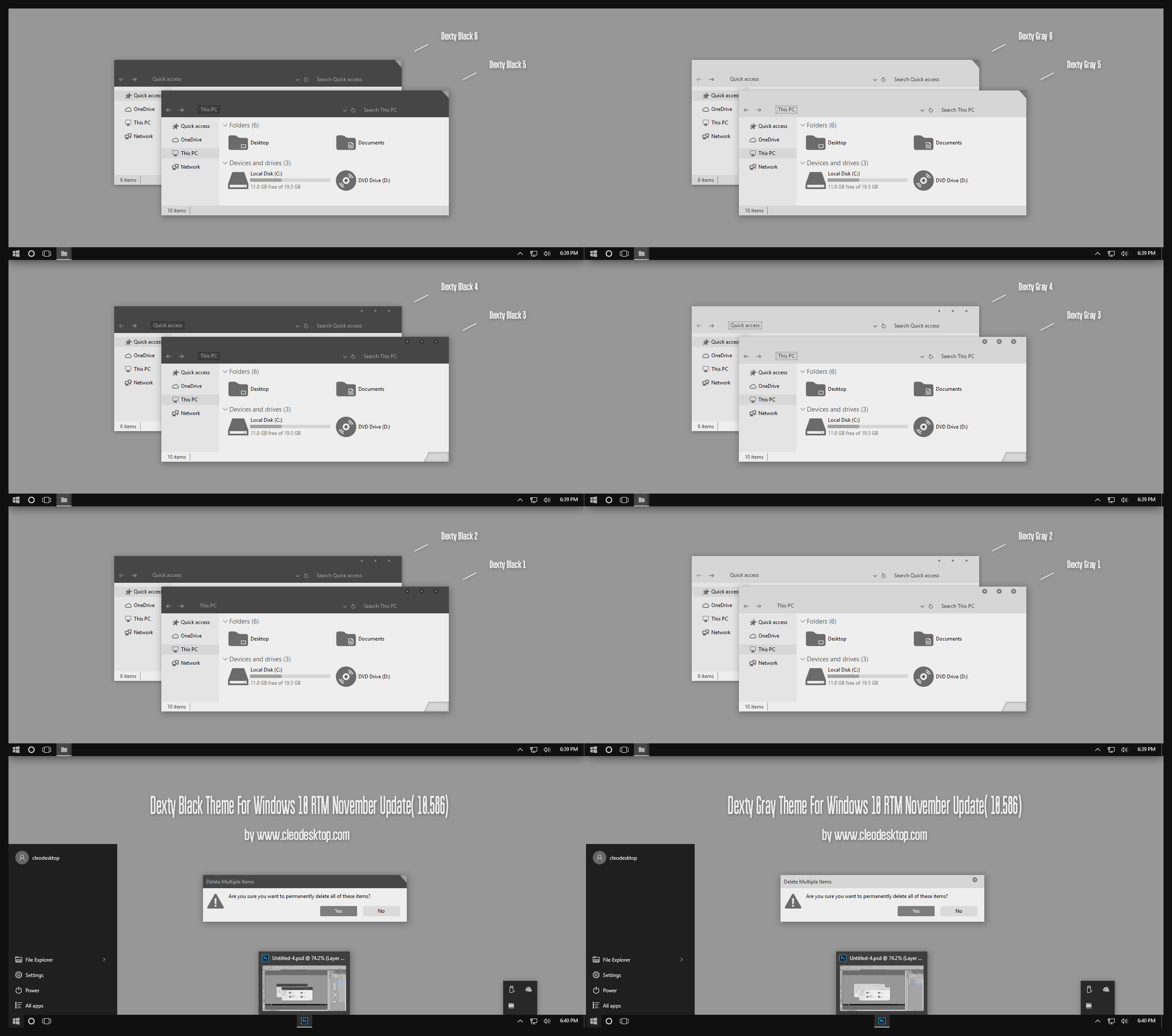 Dexty Black and Gray Theme For Windows 10 by Cleodesktop