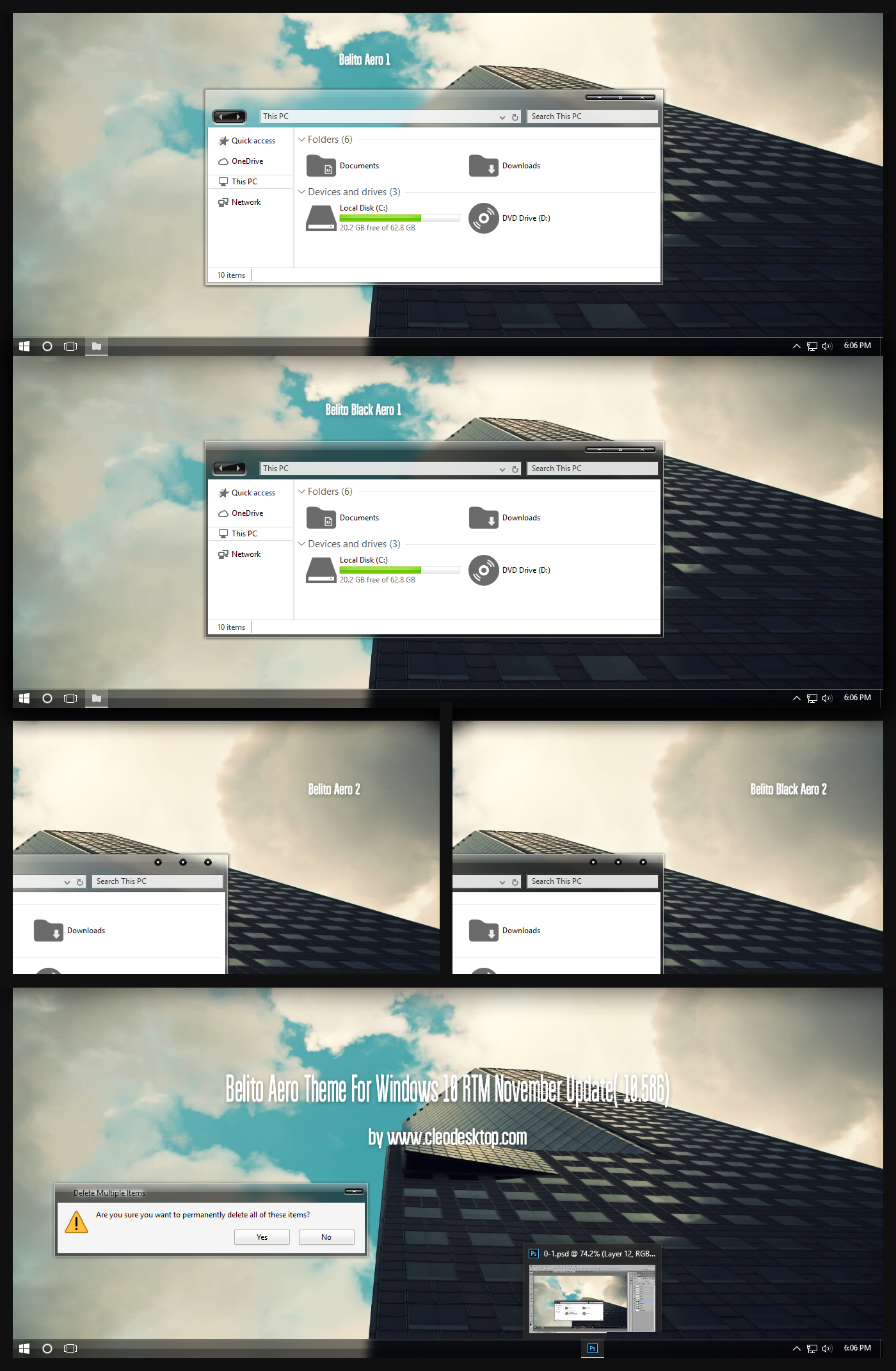 Belito Aero Theme For Windows10  November Update by Cleodesktop